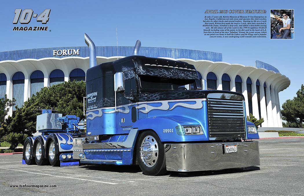 Camion Peterbilt en llamas Azules