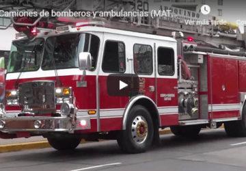 Camiones de bomberos y ambulancias